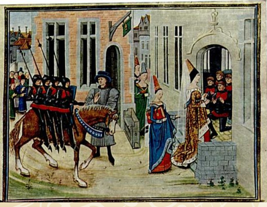 The arrival of the four sons (upon the horse Bayard) in Dordonne, after their exile in the forest. Medieval manuscript by Loyset Liédet.