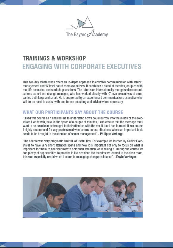 Training Engaging with corporate executives - information brochure