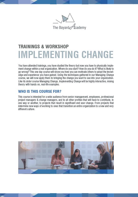 Workshop Implementing Change - information brochure