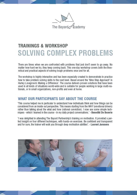 Workshop Solving Complex Problems - information brochure